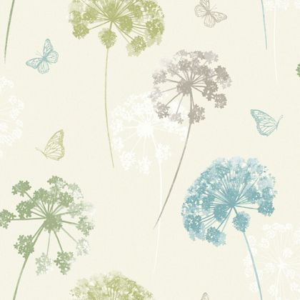 Kitty motif wallpaper teal green at homebase be for Wallpaper homebase