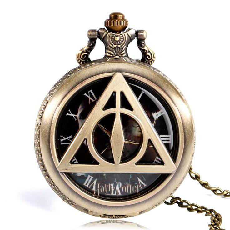 The Deathly Hallows Pocket Watch Classic Trendy Copper Lord Voldemort Harry Bronze Quartz Vintage Fob Clock Men Boy Gift