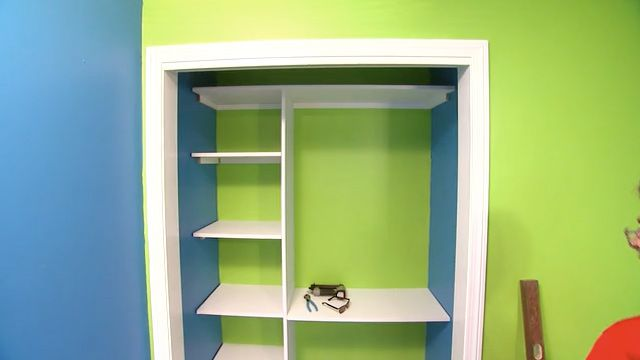 A vertical piece in the center provided support and divided the closet in two. Watch this video to find out more.