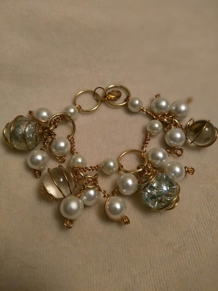 Crystal Ball Bracelet-Gold by SassieDiva on Etsy