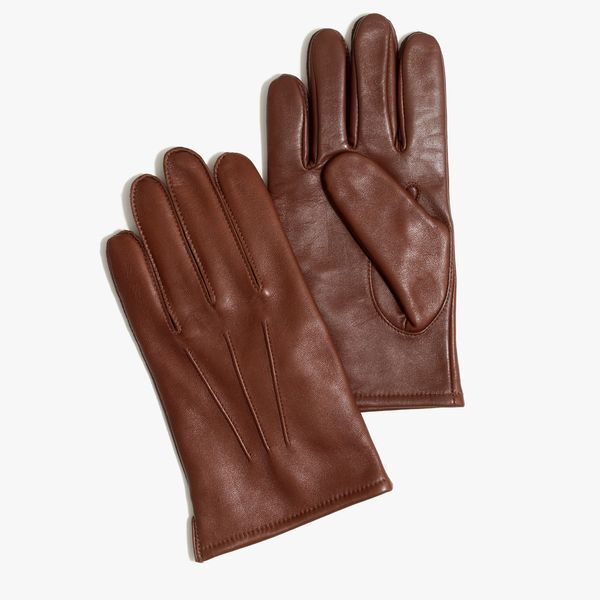 J.Crew Gift Guide: men's cashmere-lined leather smartphone gloves.