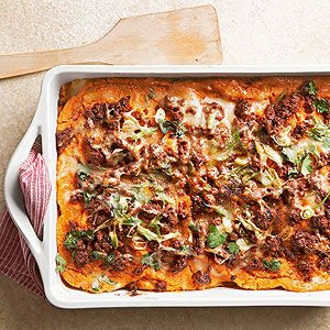 Sweet Potato-Chorizo Lasagna: For a south-of-the-border twist on traditional lasagna, we created a sweet potato sauce infused with lime and cumin, then topped it with spicy chorizo sausage, green onions, cilantro, and sharp white cheddar.