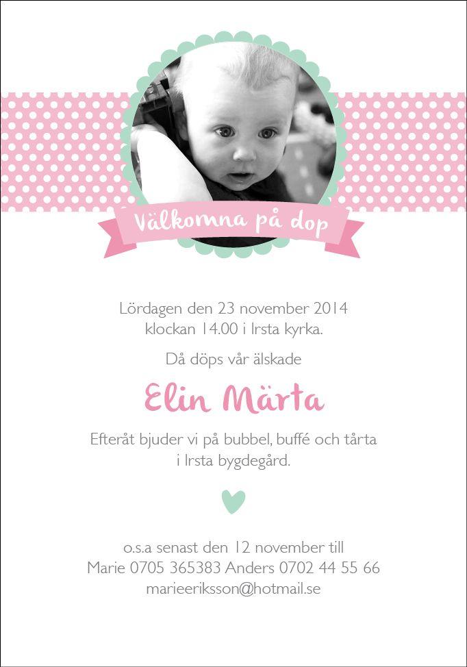 Inbjudningskort dop Foto #inbjudan dop #namngivning #inbjudningskort dop