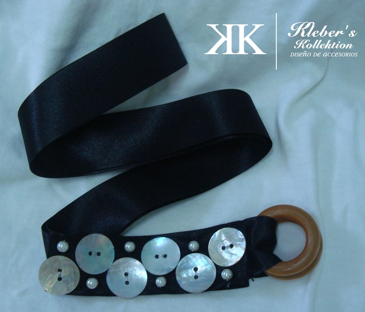 nacar buttons and black satin belt