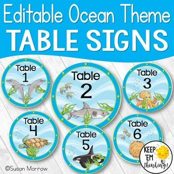 Ocean Theme Table Signs Revised on 8-1-2014 to include an editable PowerPoint file so you can customize your own table signs! This product is part of my Ocean Theme Classroom Décor