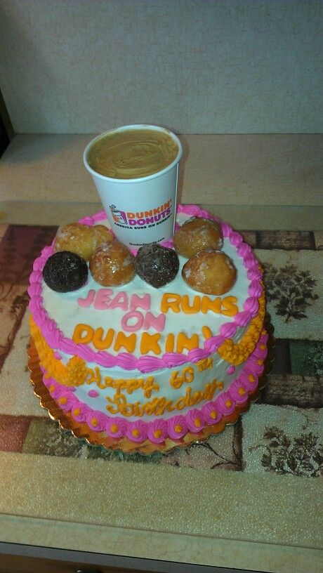 Dunkin donuts birthday cake i made for someone who LOVES Dunkin Donuts coffee!