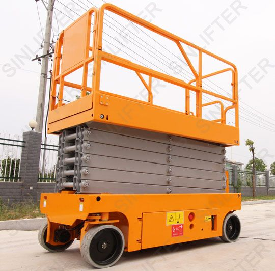 12m electric aerial lifts is an applicable lifting platform used for factory proof maintain, building cleaning and inspect. Battery power makes electric lifts low noise and keeps clean in use site. (http://sinolifter.com/self-propelled-scissor-lift/electric-aerial-lifts-12m.html)