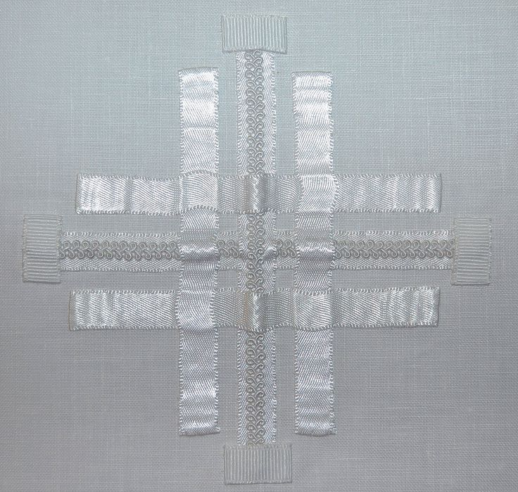 """Ribbon Plait Cross Chalice Pall details; approximately 5"""" x 5""""; 4.22.17"""
