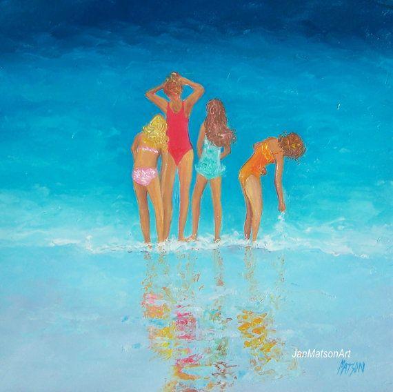 Beach Decor with girls original oil beach painting by JanMatsonArt,
