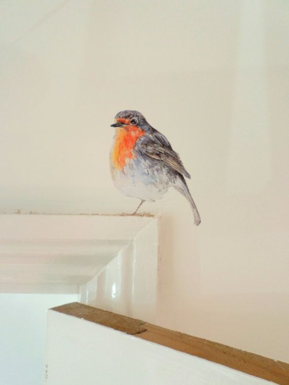 Robin wall decal sticker, watercolour bird decal, Christmas wall stickers…