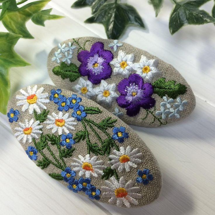 バレッタ#handmade #刺繍 #embroidery #リネン