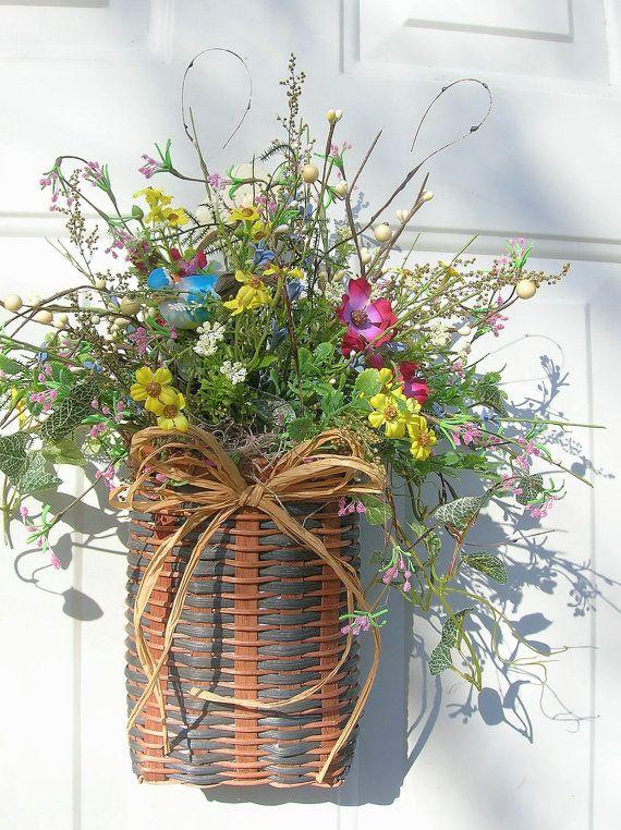 Country Spring Summer Door Basket Floral