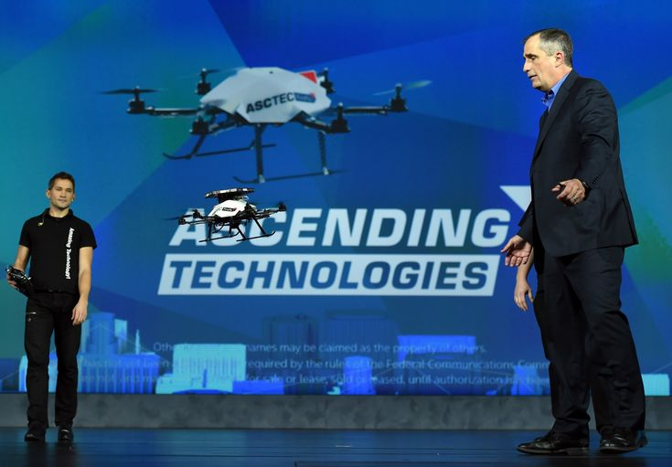 Intel CEO Brian Krzanich demonstrates the collision avoidance capability of an AscTec Firefly multi-copter drone with Intel RealSense cameras at 2015 CES. (Photo by Ethan Miller/Getty Images)