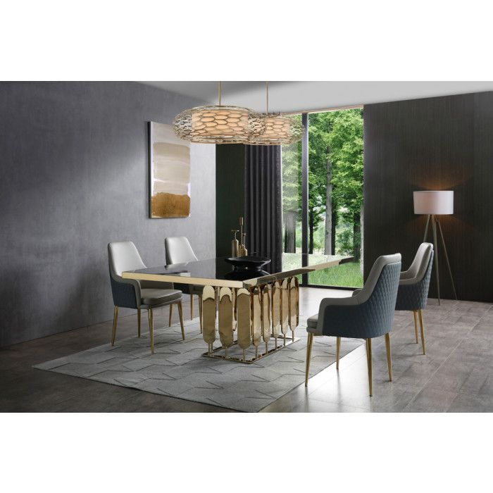 Modrest Griffith Modern Black Glass Gold Dining Table Dining