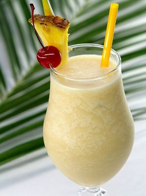Piña Colada from Puerto Rico - one of our favourites! It's a combination of rum, cream of coconut, and pineapple juice.