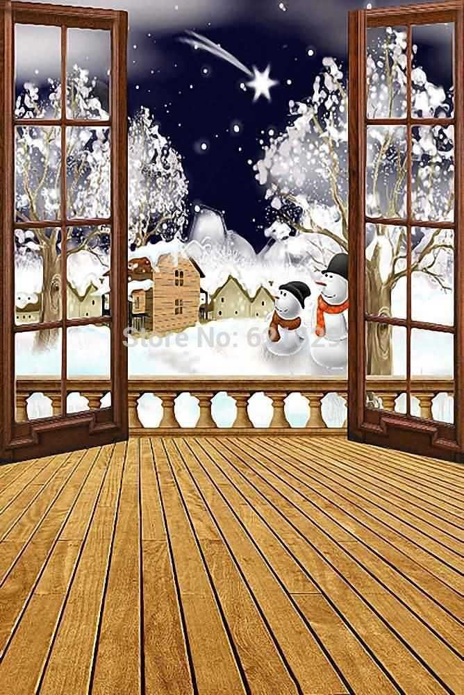 Рождество Снежная Ночь 8'x12 'СР Компьютерная роспись Scenic Фотография Фон Фотостудия Фон ZJZ-893