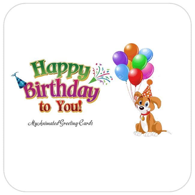 Free gif. Christmas cards | Happy Birthday | Animated Dog With Balloons Card - My ...