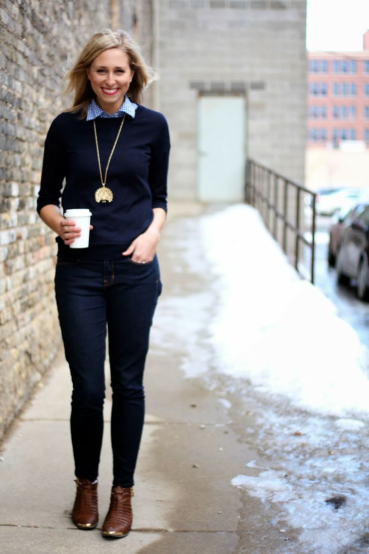 sweater and pop of color with a collar