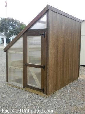 Have a spot next to your house or fence? This 6'x8' Lean-to Style Greenhouse from Backyard Unlimited is perfect for such locations with Mushroom stain on its solid back wall, 8 mm clear UV-protected polycarbonate on 3 sides, and 50-year composite trim and