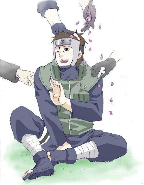 Yamato, Team 7, Naruto, Kakashi, Sakura, Sai, flower petals; Naruto