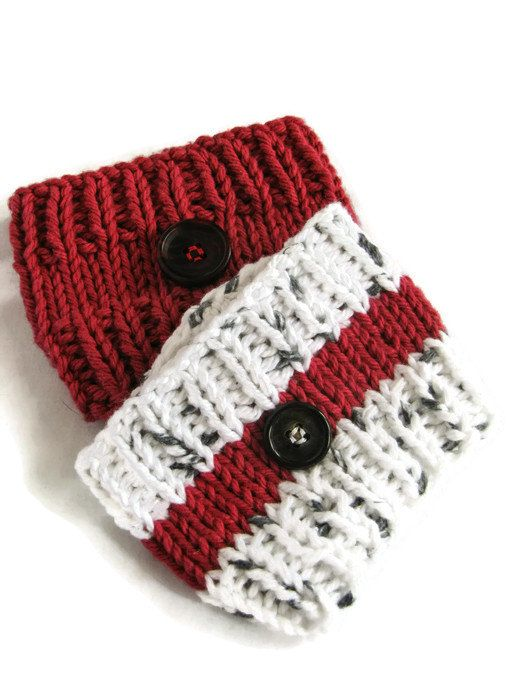 Knit Cup Cozies  Set of Two To-Go Cup by QuiltyPleasuresCraft