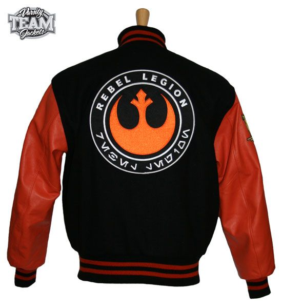 Rebel Legion customer designed wool and leather varsity jacket back with patches - by Team Varsity Jackets. www.facebook.com/TeamVarsityJackets www.teamjackets.net