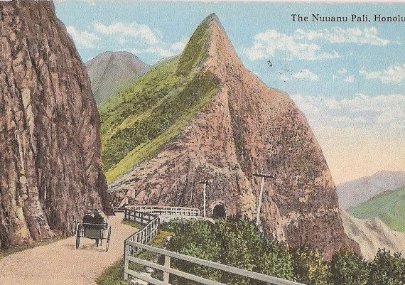 Vintage Hawaii Postcard, Nuuanu Pali, Honolulu
