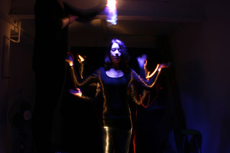 Part 3 of the long light exposure. This was about 3 minutes long and at each minute interval the model moved her arms.