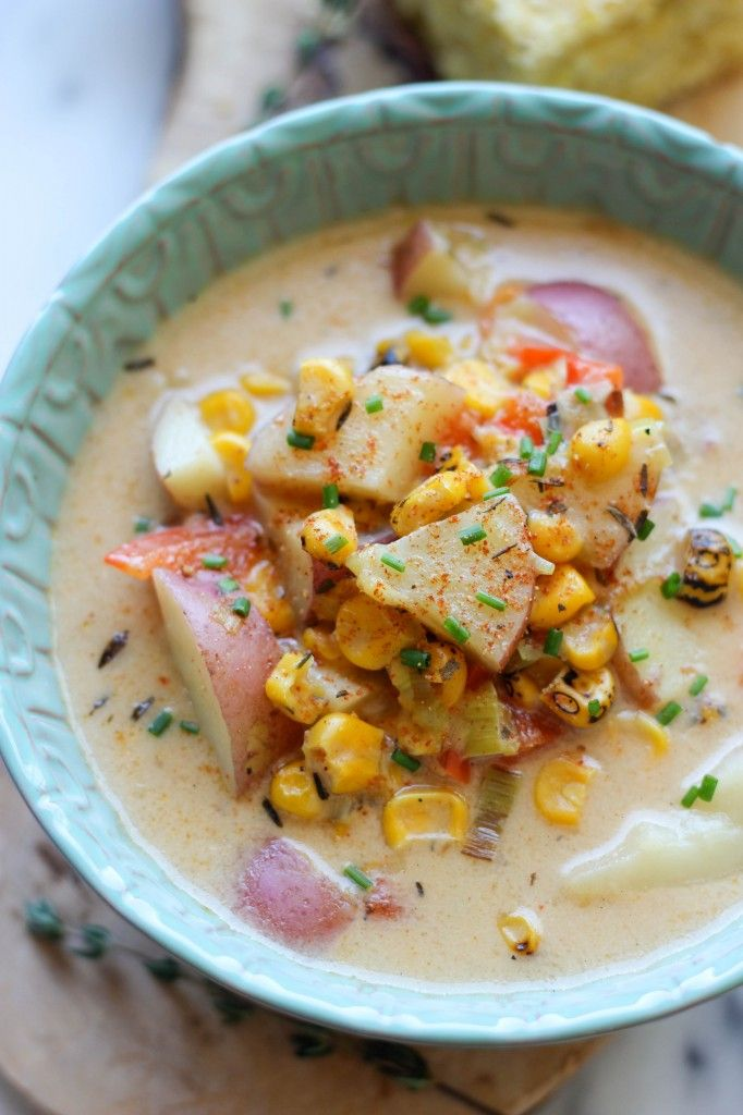 Potato Corn Chowder - A cozy, comforting and hearty potato chowder loaded with roasted corn and leeks