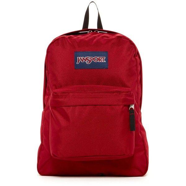JANSPORT Superbreak Backpack ($36) ❤ liked on Polyvore featuring bags, backpacks, viking red, jansport, padded backpack, backpacks bags, jansport backpack and strap backpack