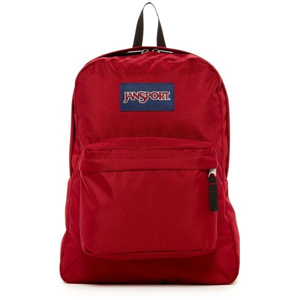 JANSPORT Superbreak Backpack ($36) ❤ liked on Polyvore featuring bags, backpacks, viking red, jansport, padded backpack, backpacks bags, jansport backpack and strap backpack