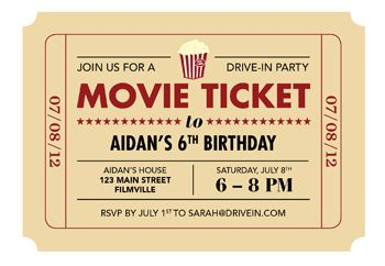 Drive-In Party Printable Movie Ticket Invite | Todays Parent - cute idea