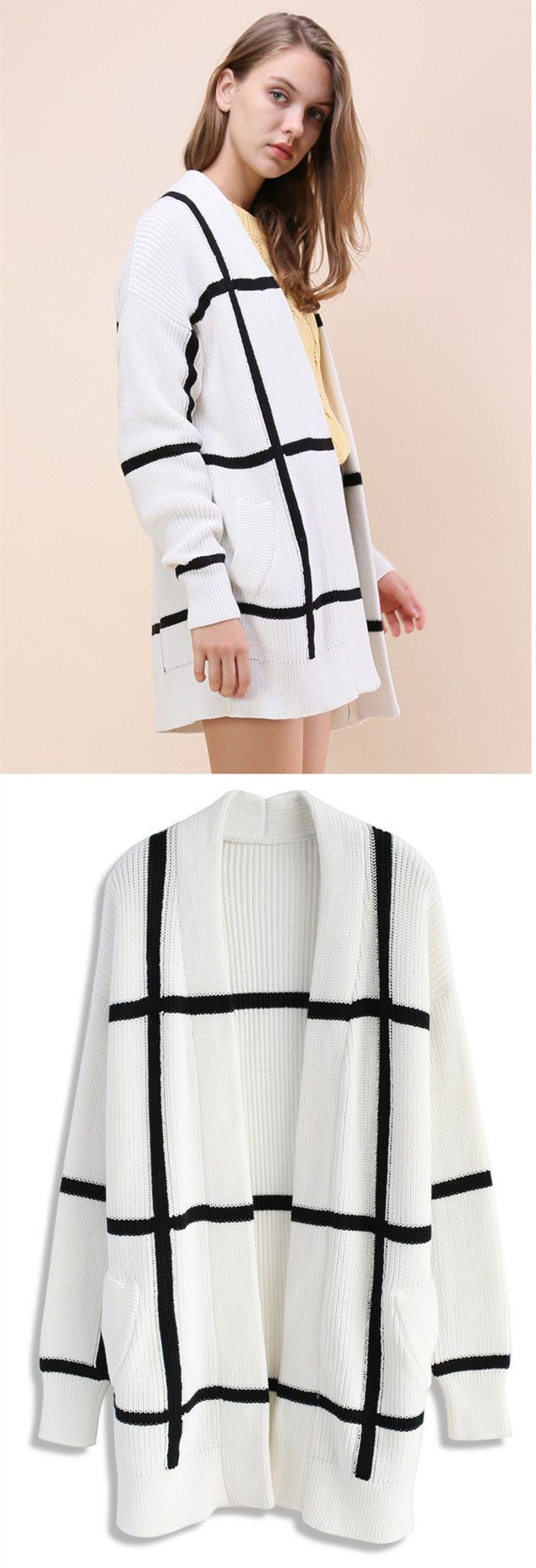 Extra 20% off Storewide  Code: THX20  Ends Nov.10th    Modern Grid Knitted Longline Cardigan in White  Find more cute cardigan at Chicwish.com