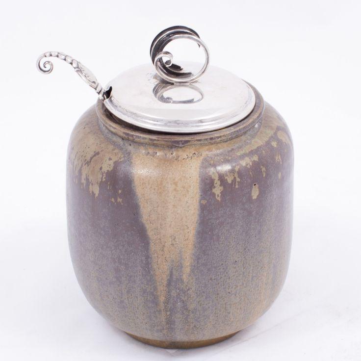 Jar of glazed stoneware