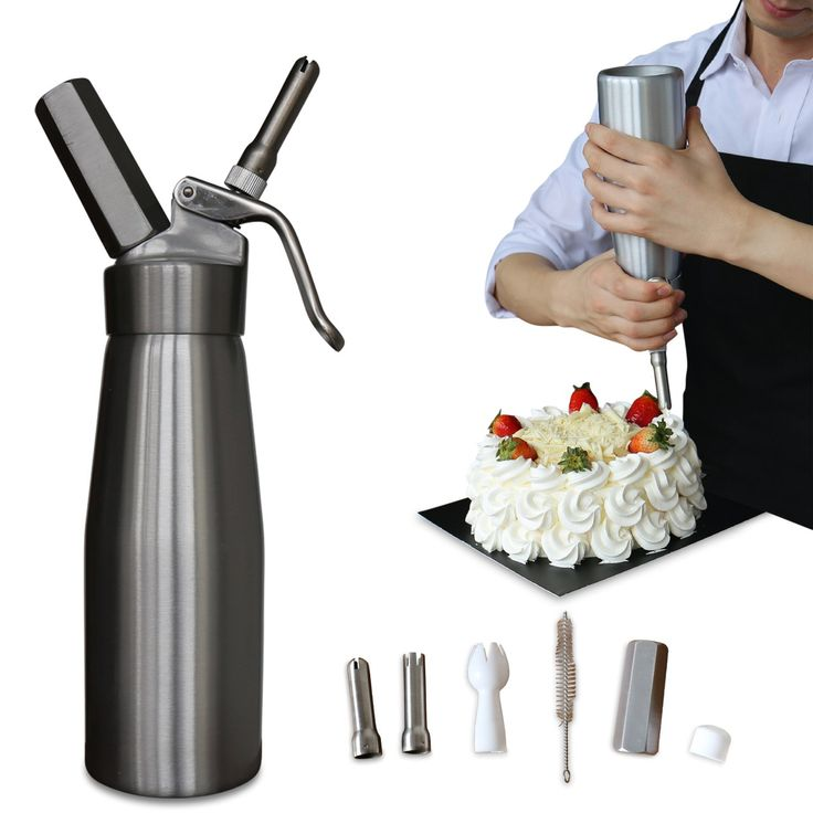 Professional Whipped Cream Dispenser Aluminum Cream Whipper - Whipping Siphon with Stainless Steel Tips 1 Pint 500mL Silver Animato - Bonus Recipe Ebook