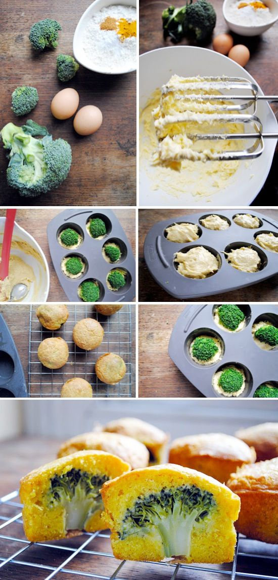 Broccoli Cheese Mini Cakes - I can't think of a better way to get the kids to eat their broccoli. Just hide it.