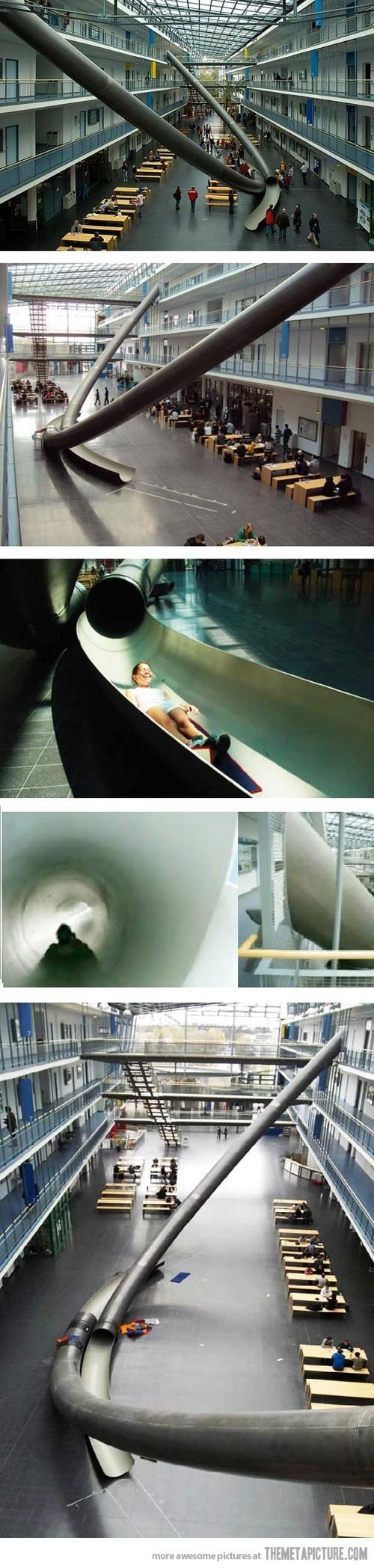 Students of Munich University use giant slides between floors… America, get on this right. NOW.