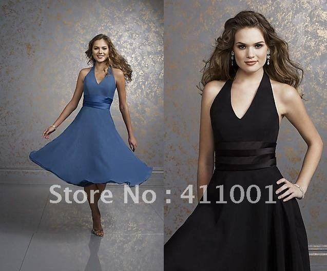 BLACK Halter A-line V-neck PARTY COCKTAIL DRESSES Bridal
