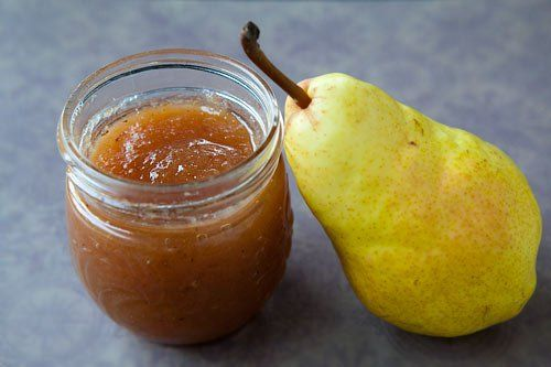 Pear Butter ~ Homemade pear butter spiced with star anise, ginger, lemon, cardamom, and nutmeg. ~ SimplyRecipes.com