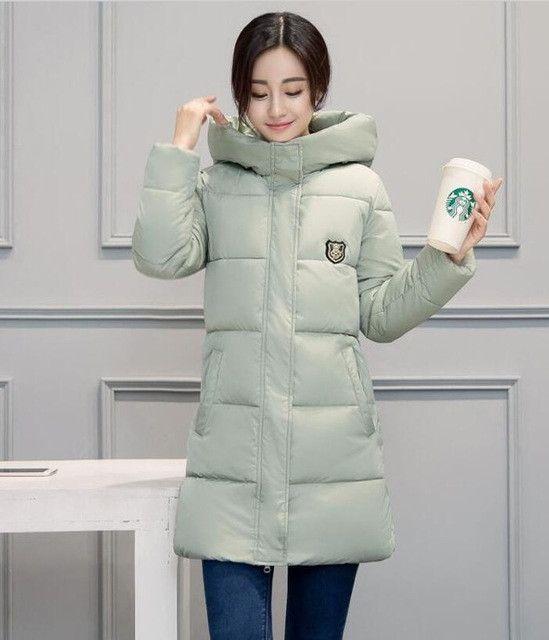 White Winter Coat Women 2017 Hot Sale Long Parka Fashion Students Slim Female Clothing Plus Size S-2XL Thick Jackets