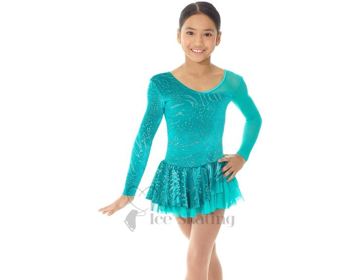 Ice Skating Dresses > Mondor Ice Skating Dress Aqua Green with Glitter Design - Love Ice Skating