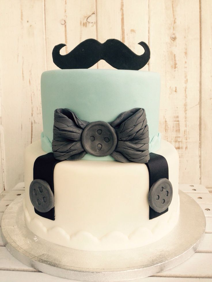 Baby shower cake for a boy mustache! Baby Party Torte für Jungs, Schnurrbart!