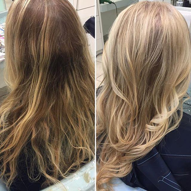 #beforeandafter #schwarzkopf #schwarzkopfprofessional #olaplex #longhair #blondehair #ashblonde #layeredhair #moroccanoil #curlyhair