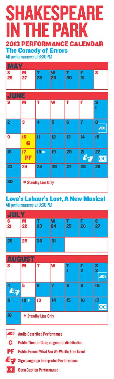 Shakespeare in the Park calendar | free at Central Park!