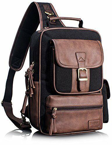20a78045e497 Leaper Outdoor Sling Bag Crossbody Travel Shoulder Backpack Daypack Black 1  L #Leaper