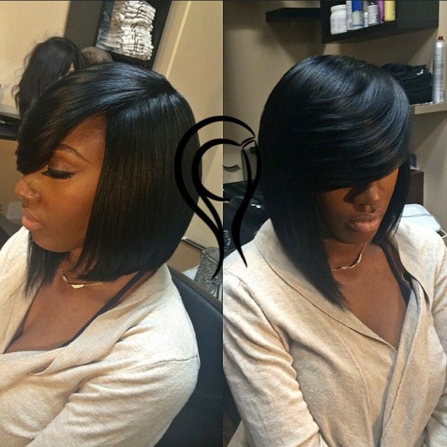 387 best quick weave images on pinterest bob styles hairstyles this a protective cap sown down no hair left out cut and styled into this layered highlow bob pmusecretfo Images