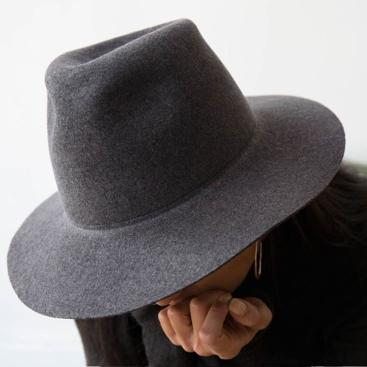 Clyde Charcoal Grey Wool Pinch Hat