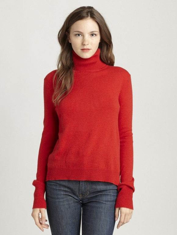 INHABIT Womens New Classic Cashmere Turtleneck - Red