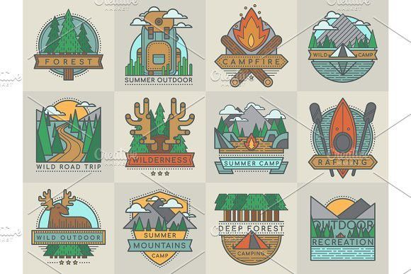Camping outdoor tourist travel logo scout badges template emblems vector illustration set #illustration #vector