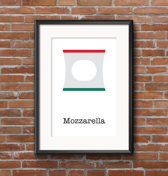 Poster kitchen Mozzarella / Wall poster food / by SketchChe